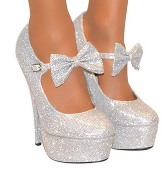 shoes silver bow heels heels silver glitter sparkle fashion