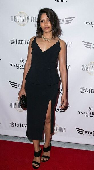 dress black dress freida pinto sandals slit dress midi dress