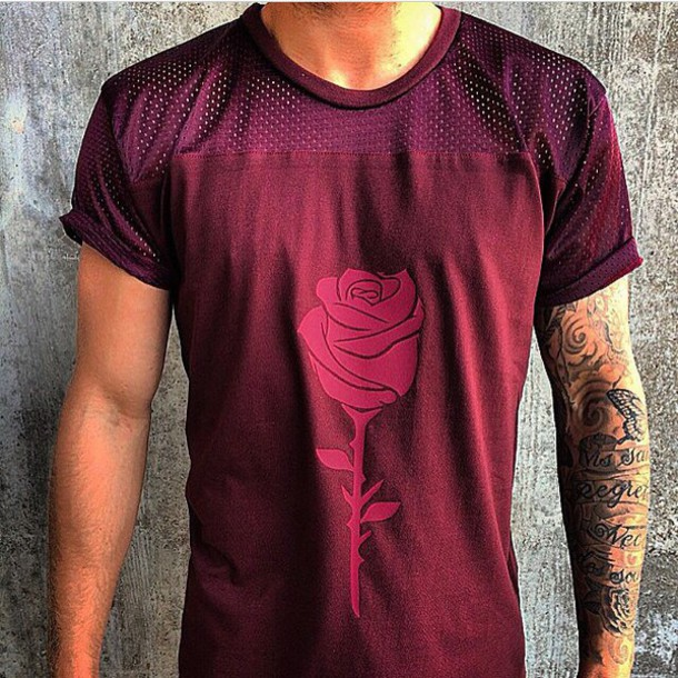 t-shirt mesh red rose