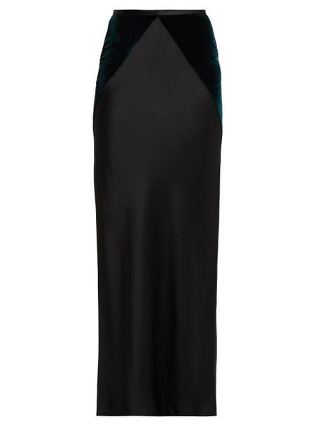 Haider Ackermann - Kerria Velvet Panel Satin Maxi Skirt - Womens - Green