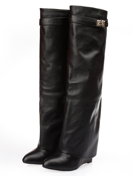 Leather Wedge Knee Boots | Choies