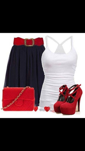 red shoes shoes skirt black skirt