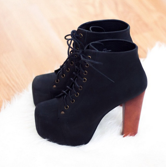 shoes wooden wedges high heels black laces brown hawt