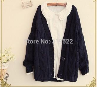 blouse peter pan collar shirt lace top mori cardigan