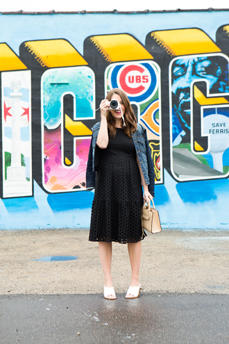 sequins and stripes blogger dress shoes jacket bag sunglasses eyelet dress midi dress black dress denim jacket blue jacket nude bag mules white mules eyelet detail