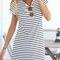 Cute stripe short sleeve dress