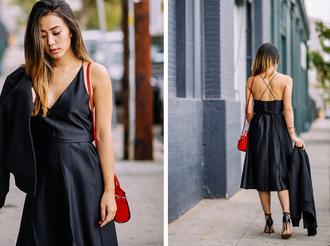 blogger neon blush black dress red bag