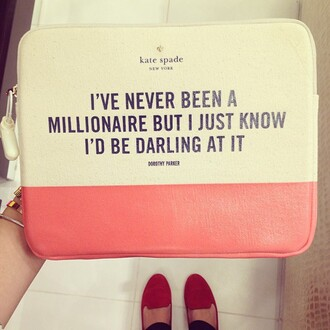 bag pink cas millionare darling quote on it cute pretty white love fashion style new york city enveloppe envelope handbag kate spade