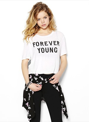 """""""forever young"""" cropped top"""