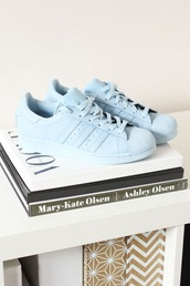 shoes,pastel sneakers,pastel blue,pastel,adidas,pharrell williams,blue shoes,blue sneakers,light blue,sneakers,book,mary kate olsen,ashley olsen,vogue,adidas shoes