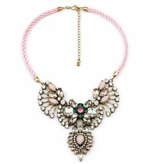 Fashion pink rope crystal rhinestone bib statement necklace wholesale