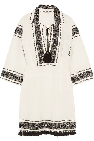 tunic embroidered white cotton top