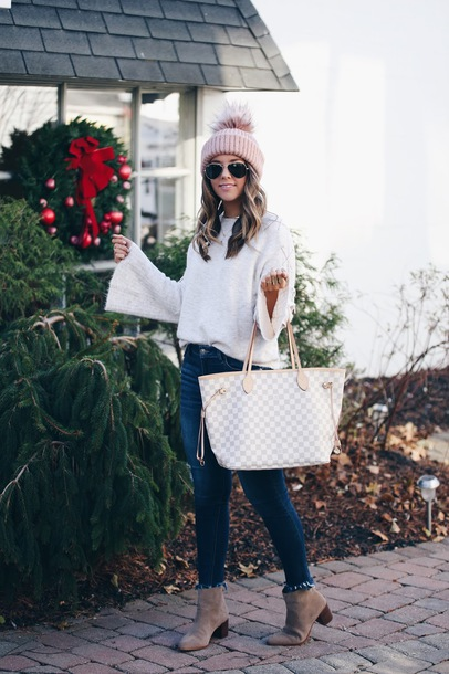 fashionably kay blogger sweater shoes hat beanie bell sleeves ankle boots tote bag louis vuitton bag pom pom beanie skinny jeans winter outfits