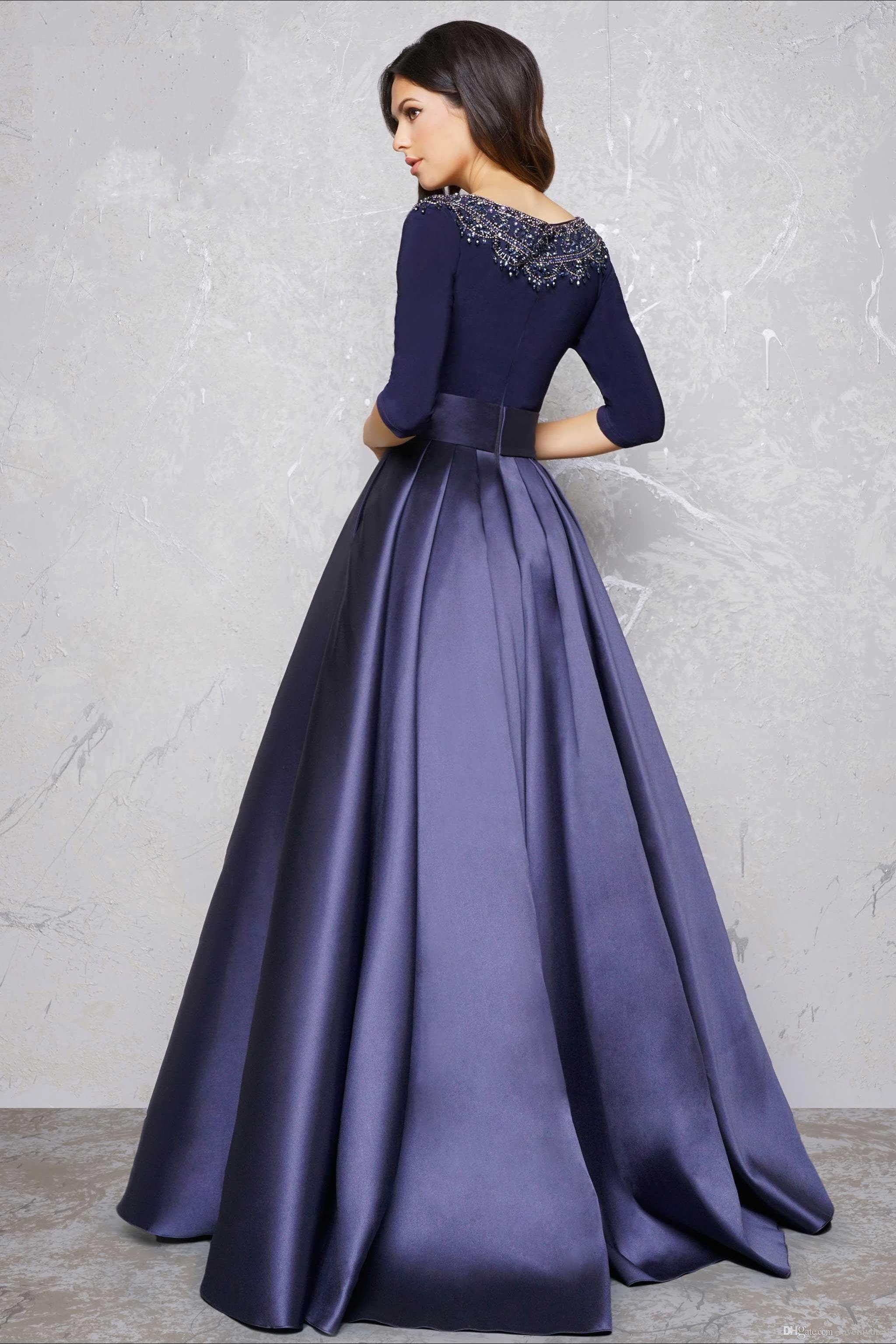 Long sleeve evening gowns formal dress a line party dress for Floor length gowns