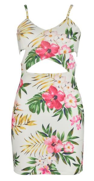 Beige Spaghetti Strap Cut Out Floral Bodycon Dress