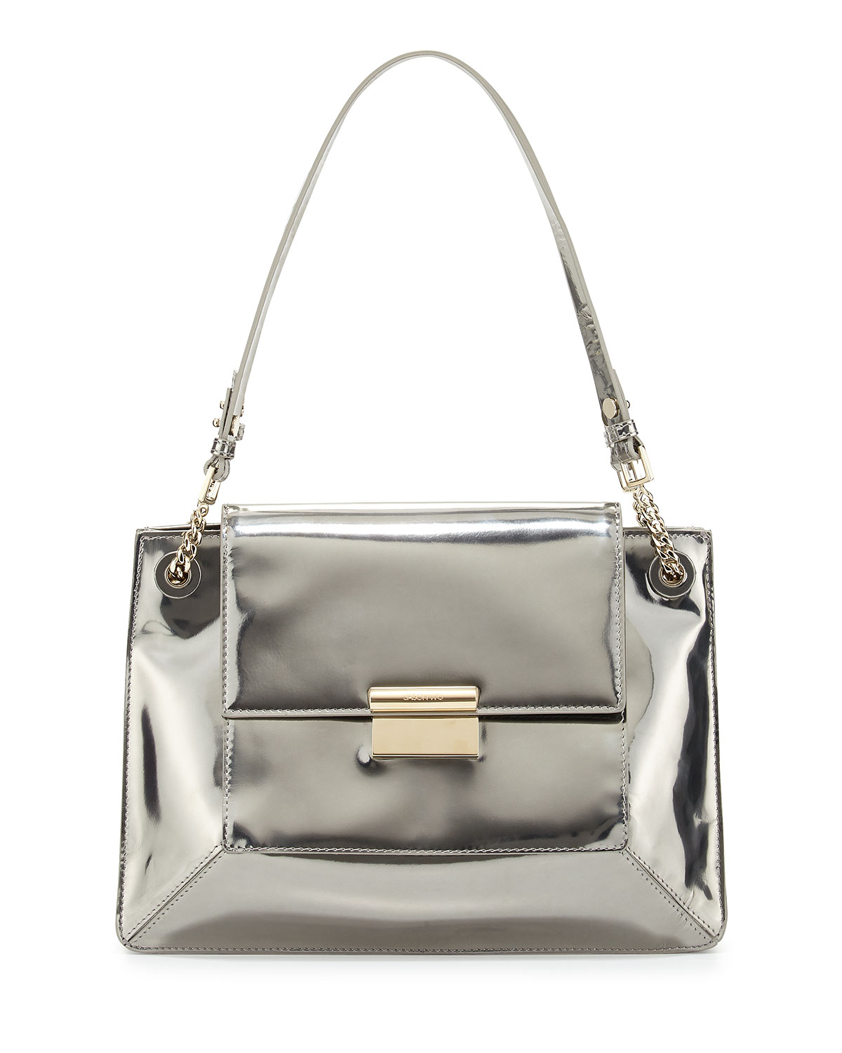 Christy Metallic Leather Shoulder Bag, Silver