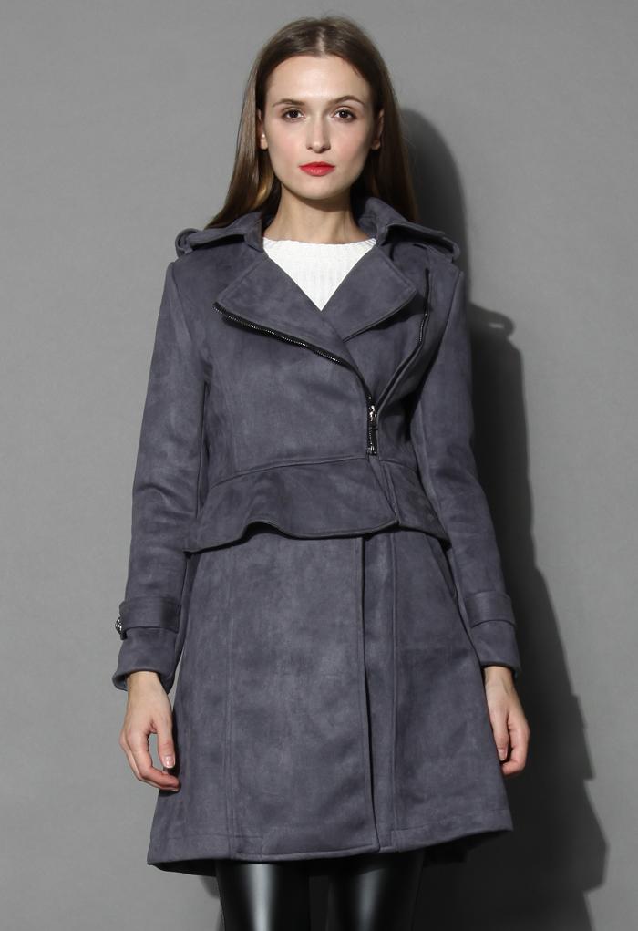 Grey Paneled Peplum Faux Suede Coat - Retro, Indie and Unique Fashion