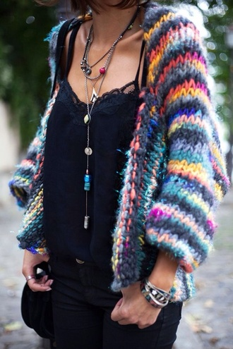 sweater multicolor cardigan oversized cardigan jumper top knitwear knitted cardigan colorful rainbow