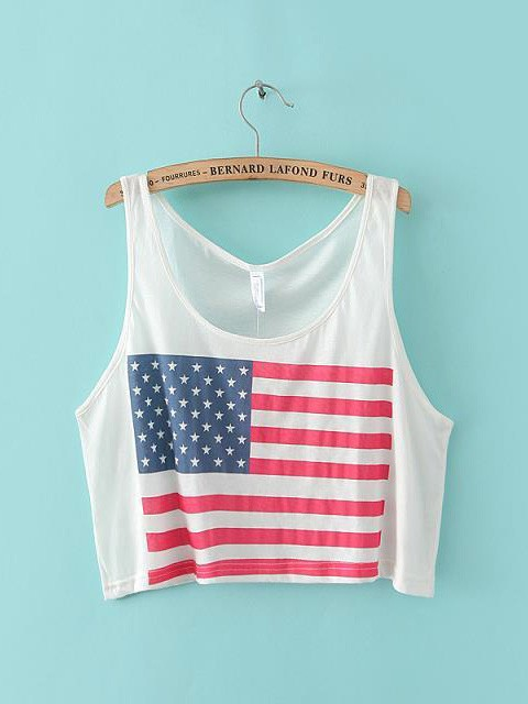 Summer sexy fashion sleeveness round neck short loose white flag printed exposed navel vest
