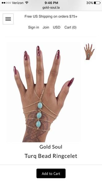 jewels ring ringcelet bohemian chain ring bracelet