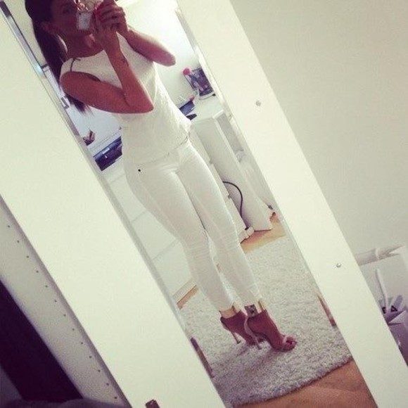 top white shirt blouse shoes classy simple tank top beige shoes gold pants gold shoes white skinny jeans jeans