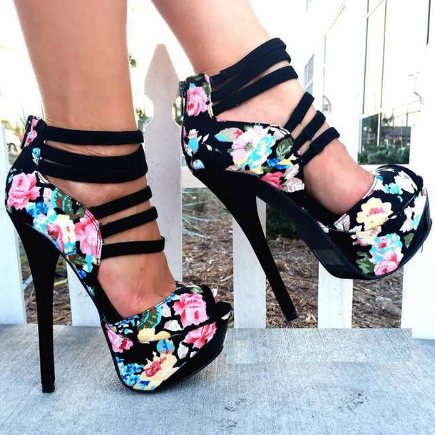 shoes floral flowers strappy heels heels