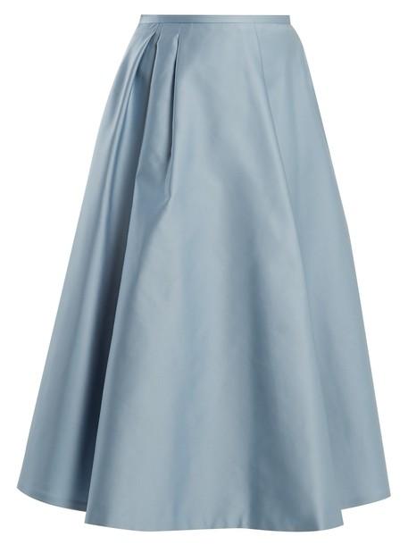 Rochas skirt midi skirt pleated midi satin light blue light blue