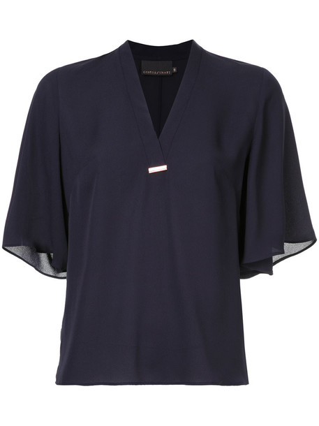 Ginger & Smart - Secret Vice blouse - women - Silk - 12, Blue, Silk