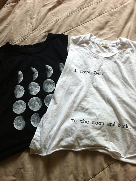 t-shirt black t-shirt tumblr shirt white t-shirt i love you to the moon and back shirt moons swag top hipster help skirt, vintage, want, skirt, need, flowy, pink, tank top top moon white tank top black tank top