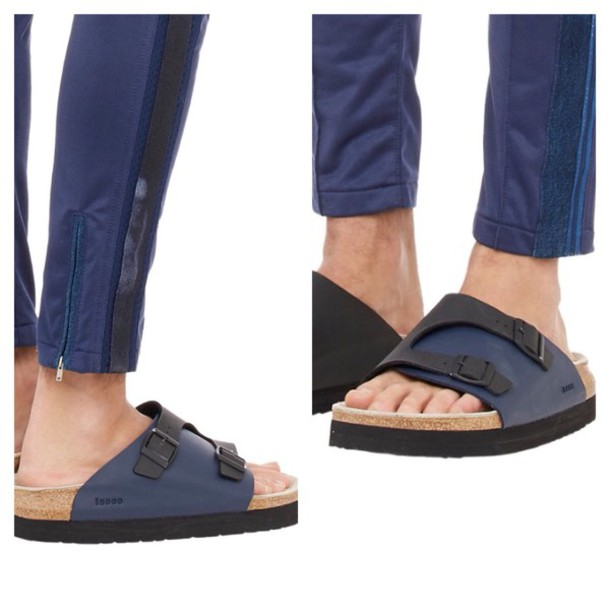 shoes blue leather black buckle sandals slide shoes