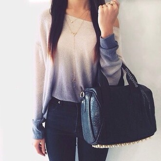bag black bag sweater ombre blue blouse shirt