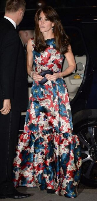 dress maxi dress gown kate middleton floral flowers floral dress