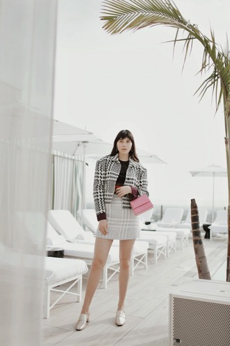 natalie off duty blogger jacket skirt bag sunglasses jewels high heel loafers mini skirt cropped jacket winter outfits loafers