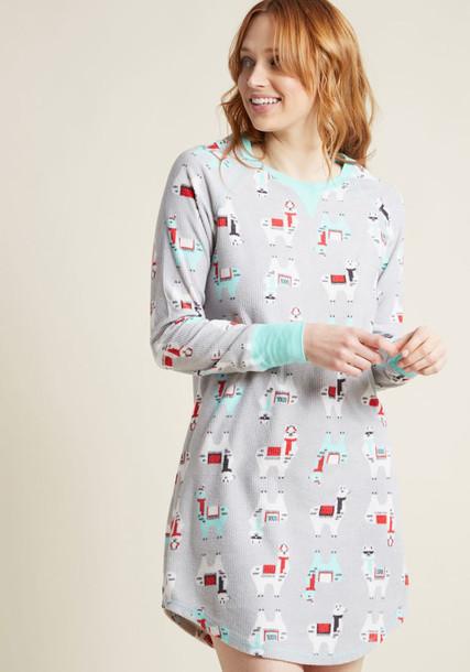 82113 shirt long cozy light sleep print blue knit grey light blue top