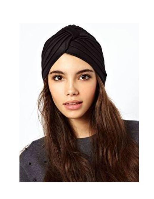 Black turban hat