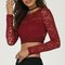 Lace see through long sleeve crop top