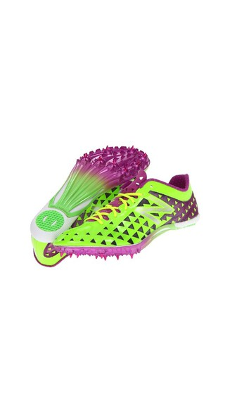 shoes green purple sprint spikes