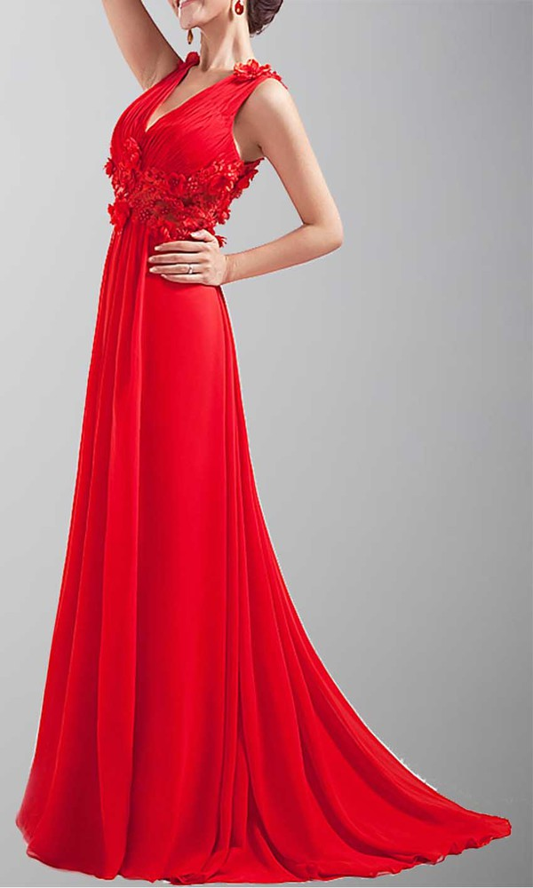 long prom dress sexy dress v neck dress red dress floral dress pleated dress sheer back dress