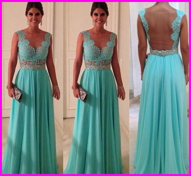 Aliexpress.com : Buy On Sale Cheap vestidos de fiesta 2014 Long Evening Dress See Through Back Appliqued Mint Green Prom Dress WD022 from Reliable dress hit suppliers on 27 Dress