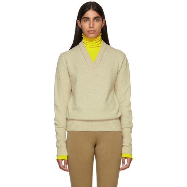 Joseph Beige & Yellow Double Knit V-Neck Sweater