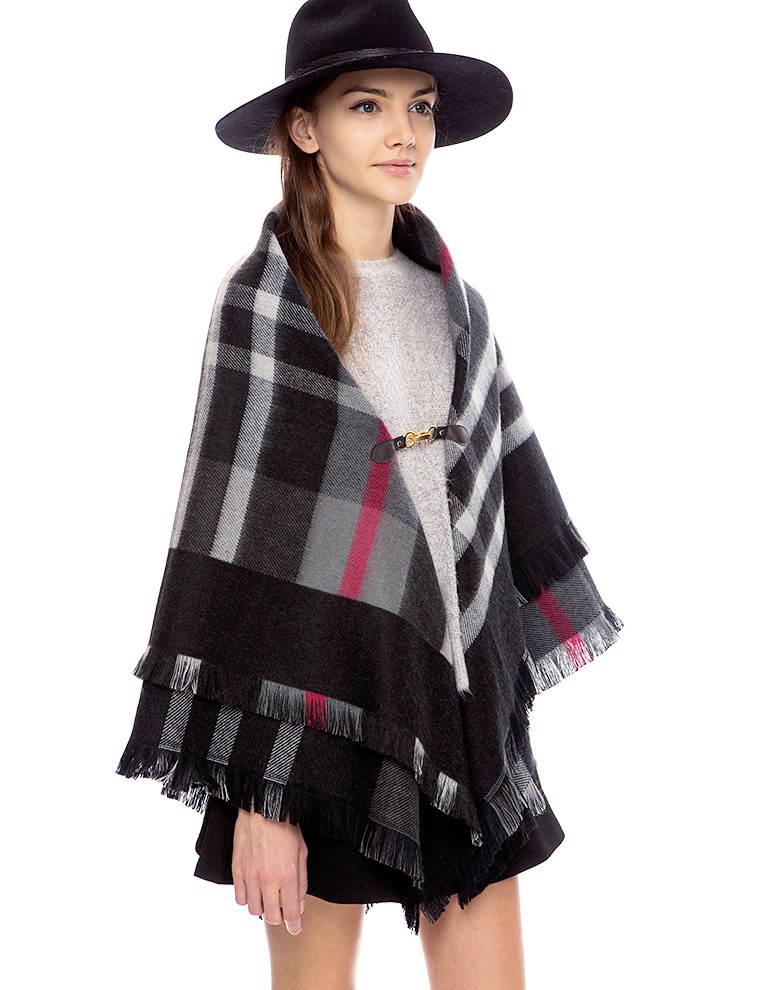 Wool buckle poncho