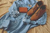 jacket,clothes,shoes,boots !,denim,shoes want,cute,boots,tan,high heels,tie up shoes,tan shoes,shorts,denim shirt,earrings,hipster,grunge,hippie,classy,pretty,tumblr,coat,jeans,denim jacket,cardigan,blue shirt,shirt,blue,brown,vintage,booties,suede