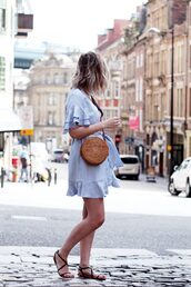 dress,tumblr,mini dress,blue dress,light blue,sandals,flat sandals,black sandals,bag,round bag,shoes