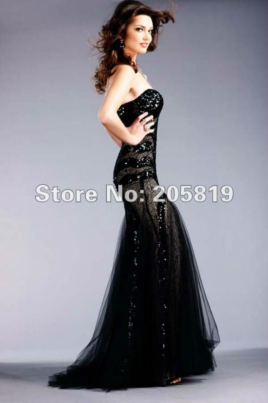 Fashion 2012 Hot Sale Mermaid Strapless Sweetheart Floor Length Sequin and Tulle Evening Dresses Prom Dress  IWD153050-in Evening Dresses from Apparel & Accessories on Aliexpress.com