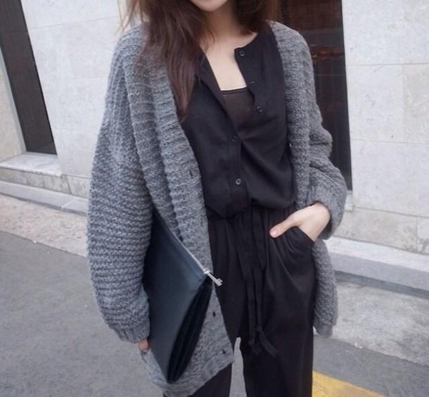 sweater cardigan grey jacket warm