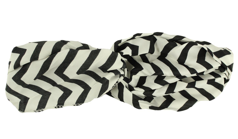 Amazon.com: 3TEN Zig Zag Black & White Double Loop Chevron Pattern Headwrap: Beauty