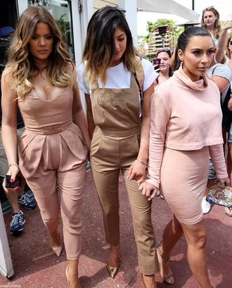 dress skirt jumpsuit beige jumpsuit khloe kardashian kim kardashian kylie jenner pink nude overalls two-piece trendy beige blush pink all nude everything
