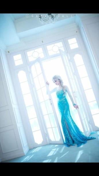dress blue dress frozen prom dress blue wedding dress elsa gown long sleeveless