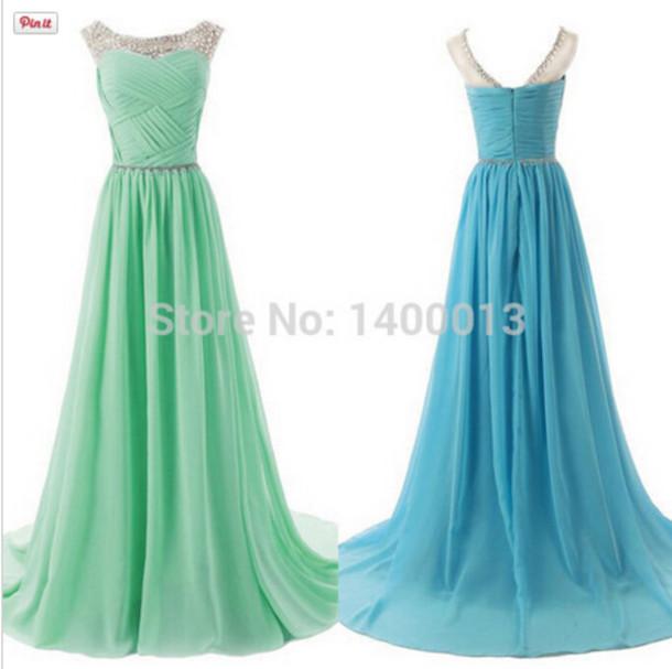 dress, long prom dress, mint prom dress, blue prom dress, prom ...