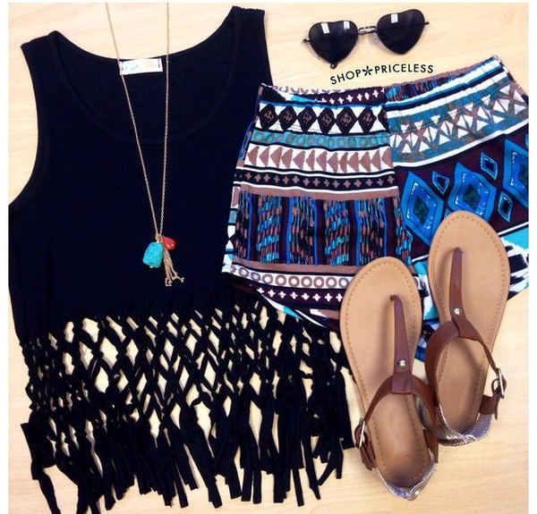 shirt black fringes summer fashion summer outfits cute cute outfits shorts material shorts printed shorts sunglasses top hippie coachella knotted skirt shoes gloves blouse short shorts aztec aztec short blue blue shorts black top boho sandals brown sandals